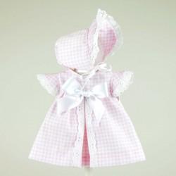 Vestido piqué cuadritos rosa para bomboncín